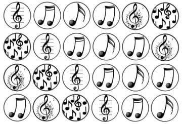 48 Music Notes Edible Rice Paper Toppers 3cm x 3cm