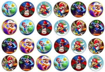 48 Supermario Edible Rice Paper Toppers 3cm x 3cm