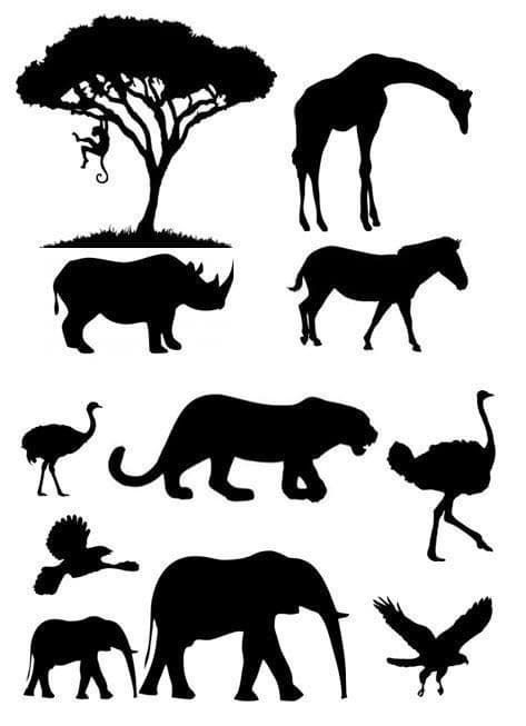African Animal Silhouette Jungle Theme Cake Decor