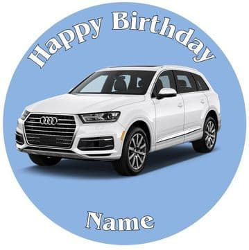 Audi Q7 Jeep White 2017 Model - Pre Cut Personalised Icing Topper - 3055