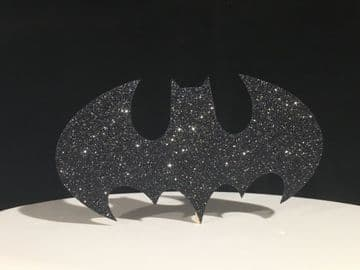 Batman Logo Black Glitter Cake Topper Decoration Laser Cut