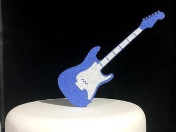 Blue Guitar Double Layered Glitter Cake Topper Decoration Laser Cut
