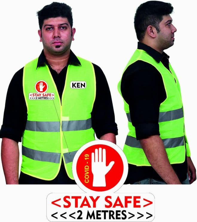 COVID shop floor SAFETY 19  2 metre distance HI VIZ VEST  FREE Medium name PRINT