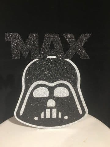 Darth Vader Personalised Double Layered Glitter Cake Topper Decoration Laser Cut