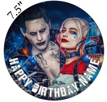 DC Comics (Suicide Squad) Harley Quinn and The Joker Edible - Pre Cut Personalised Icing Topper