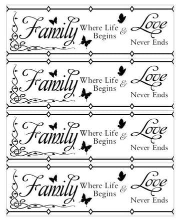 Family Where Life Begins Love Never Ends Quote Edible Icing Ribbon For Cakes