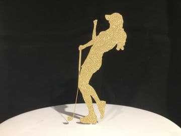 Golf Lady Golfer Gold Glitter Sparkly Cake Topper Decoration Laser Cut