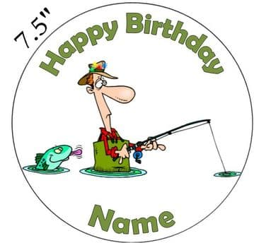 Gone Fishing - Not Catching! Edible - Pre Cut Personalised Icing Topper