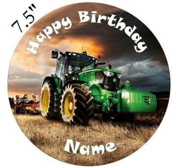 Green Tractor Edible - Pre Cut Personalised Icing Topper