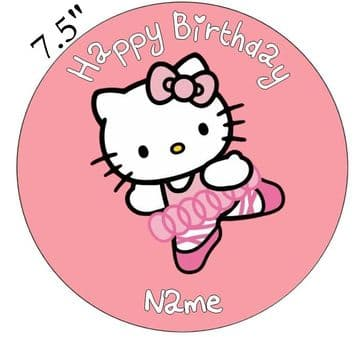 Hello Kitty Ballerina Edible - Pre Cut Personalised Icing Topper
