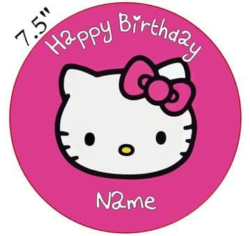 Hello Kitty Dark Pink Edible - Pre Cut Personalised Icing Topper HK1