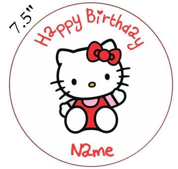 Hello Kitty Red Bow Edible - Pre Cut Personalised Icing Topper HK2