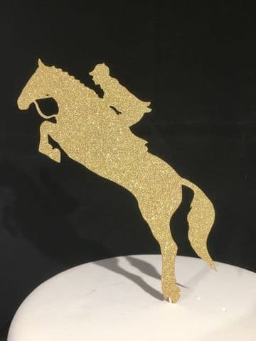 Horse Jump Gold Glitter Sparkly Cake Topper Decoration Laser Cut
