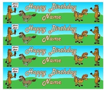 Horses Personalised Edible Icing Ribbon Cake Decoration Precut