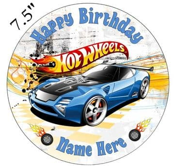 Hot Wheels (Blue Car) Edible - Pre Cut Personalised Icing Topper
