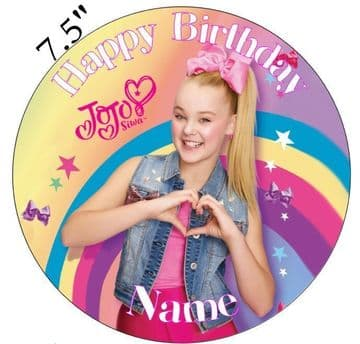 JoJo Siwa Inspired Personalised Edible Icing Cake Topper 7.5in Precut