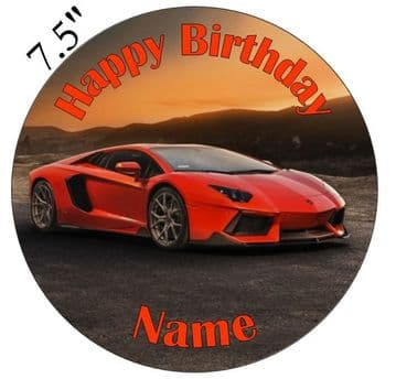 Lamborghini SunSet Red Aventador Edible - Pre Cut Personalised Icing Topper