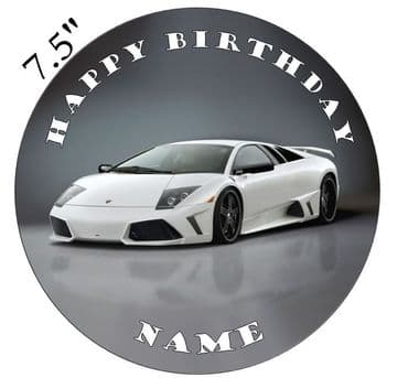 Lamborghini White Murcielago Edible - Pre Cut Personalised Icing Topper