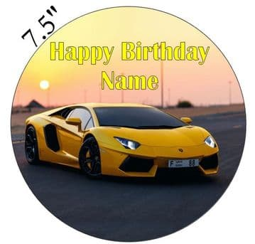 Lamborghini Yellow Aventador Edible - Pre Cut Personalised Icing Topper
