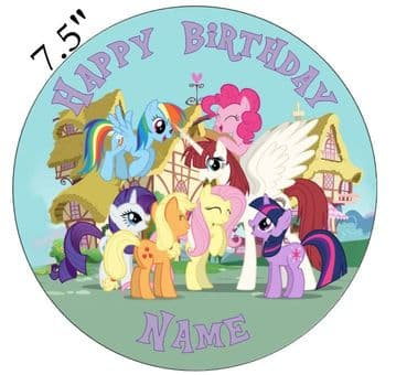 My Little Pony Group Image Edible - Pre Cut Personalised Icing Topper MLP1