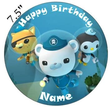 Octonauts Captain Barnacles And Crew Edible - Pre Cut Personalised Icing Topper OC2