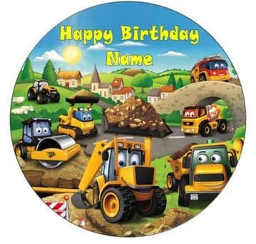 Personalised Digger Town Edible Icing Cake Topper 7.5in Precut Round Square