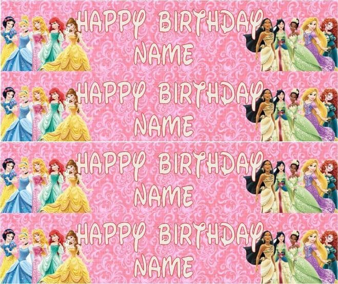 Personalised Disney Princess Icing Ribbon Cake Decoration Decor Plus 4 Strips