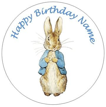 Peter Rabbit (Beatrix Potter) - 3 Sizes - Pre Cut Personalised Icing Topper
