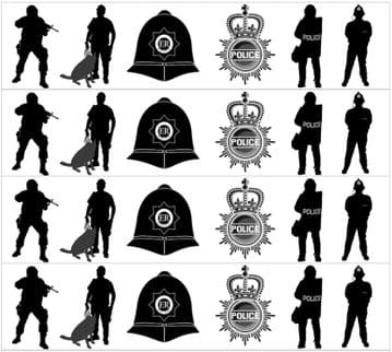 Police Silhouette  (4 x 19 cm Strips) Edible Icing Ribbon Cake Decoration