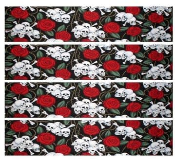 Skulls & Roses Edible Icing Ribbon Cake Decoration Decor Plus