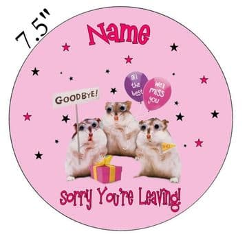 Sorry Your Leaving (Bye Bye) Pink Edible - Pre Cut Personalised Icing Topper