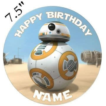 Star Wars Force Awakens BB8 Edible - Pre Cut Personalised Icing Topper