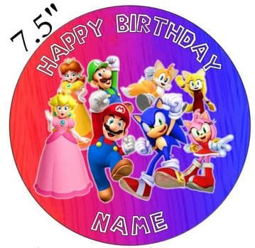 Super Mario Group Image Edible - Pre Cut Personalised Icing Topper