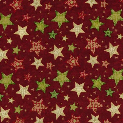 Fabri Quilt - Seasons Greetings, Stars - Red Christmas Patchwork Fabric