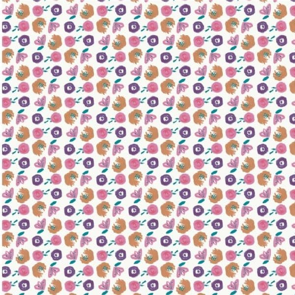 Fabric Freedom - Watercolour Swirls -  Purple / Pink Floral Cotton Quilting Fabric