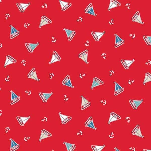 Makower - Marina, Tossed Yachts - Red Cotton Quilting Fabric
