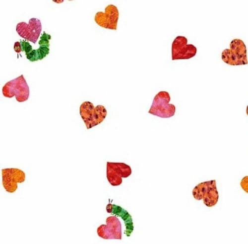 Makower - Very Hungry Caterpillar, Scattered Hearts - Red Cotton Quilting Fabric