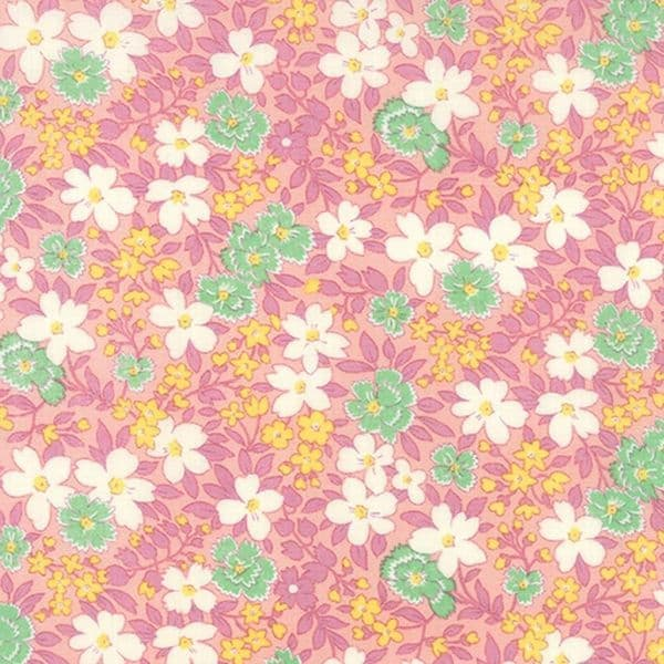 Moda - 30s Playtime, Bettys Pink Flower - Pink Cotton Patchwork Fabric