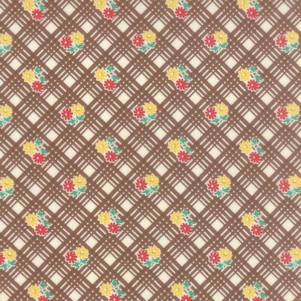 Moda - 30s Playtime, Cocoa Check - Brown Cotton Patchwork Fabric
