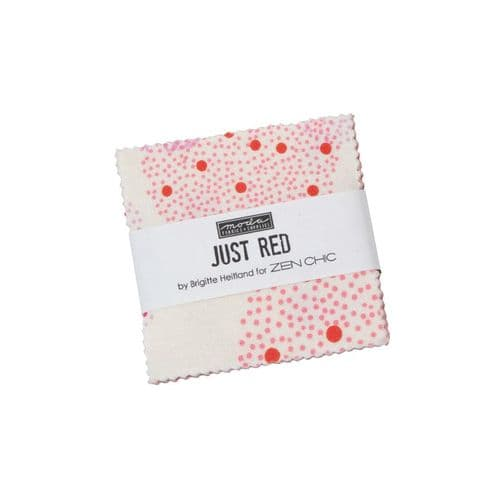 "Moda Mini Charm Pack - Just Red - 42 x 2.5"" squares"