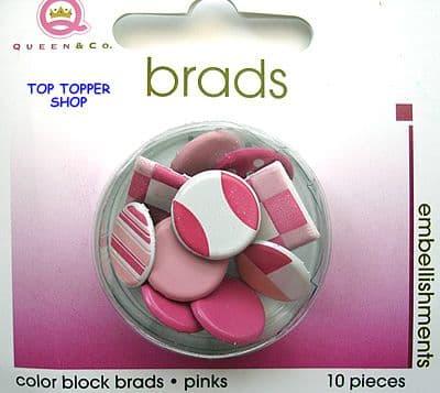 10 BIG COLOUR BLOCK BRADS PINK QUEEN & CO