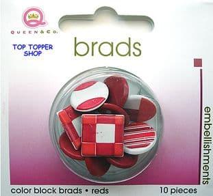 10 BIG COLOUR BLOCK BRADS RED QUEEN & CO