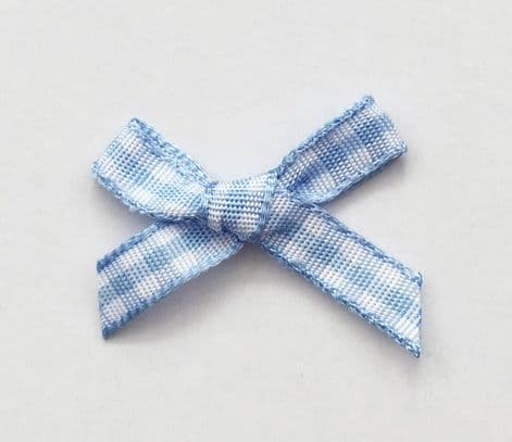 10 Gingham Bows 7mm Pale Blue