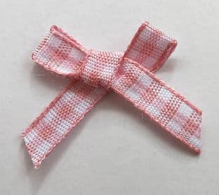 10 Gingham Bows 7mm Pale Pink