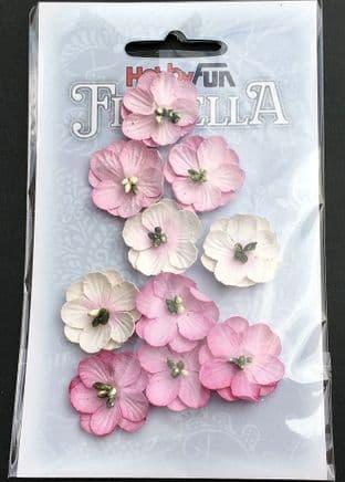 10 Handmade Mulberry Paper Flowers Pink Hobbyfun Florella 3866015