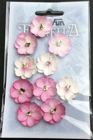 10 Handmade Mulberry Paper Flowers Soft Pink Hobbyfun Florella 3866041