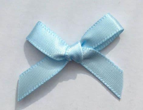 10 Satin Bows 7mm Pale Blue