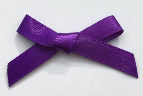 10 Satin Bows 7mm Purple