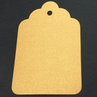 10 Scalloped Tags Pearlescent Deep Gold Card 12 x 8cm