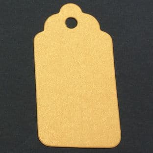 10 Scalloped Tags Pearlescent Deep  Gold  Card 6.25 x 3.25cm